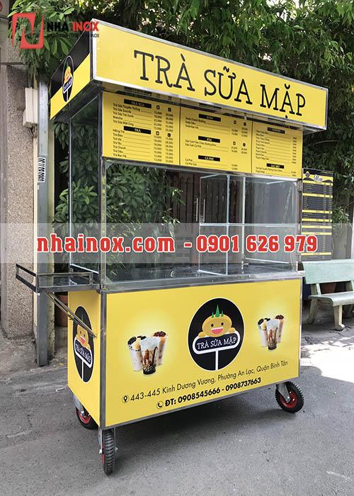 Xe bán trà sữa inox màu vàng