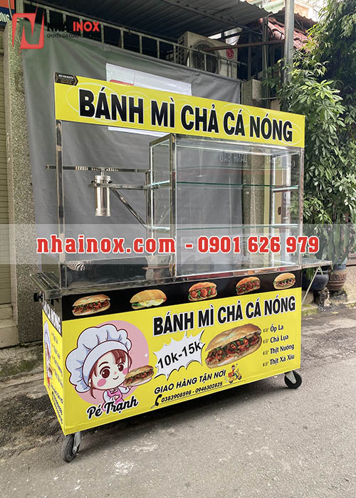 Xe bánh mì chả cá inox giá rẻ