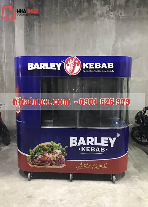 Xe bánh mì Thổ Nhĩ Kỳ kính cong, chữ nổi inox