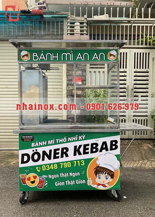 Xe Doner Kebab mẫu vuông inox