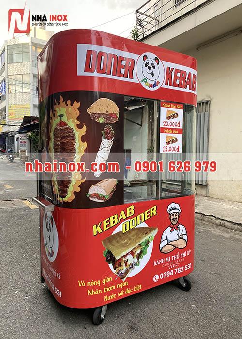 Xe bánh mì Doner Kebab kính cong