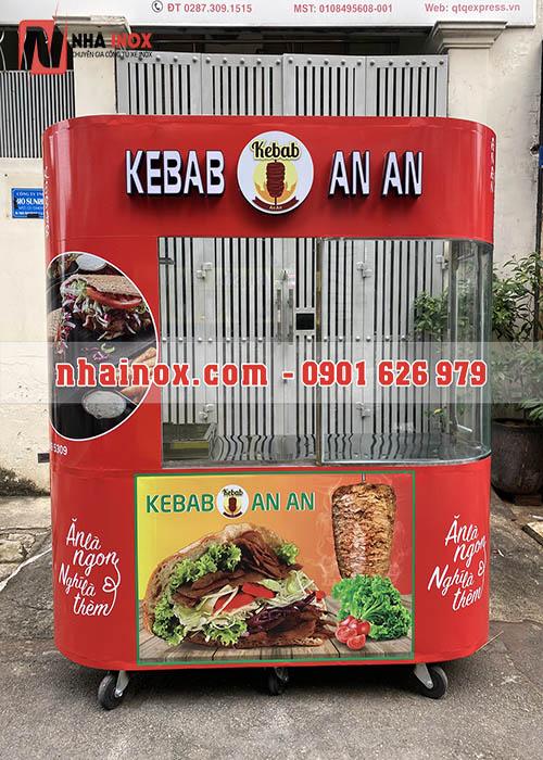 Xe bánh mì Thổ Nhĩ Kỳ kebab kính cong, chữ nổi
