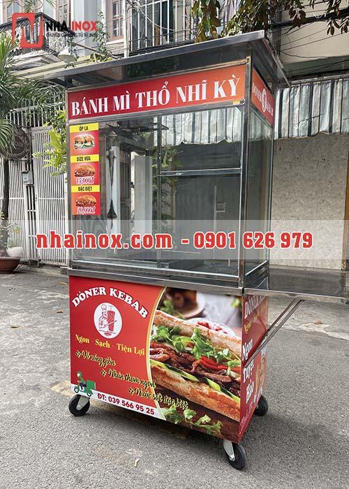 Xe bánh mì Thổ Nhĩ Kỳ kính inox mini