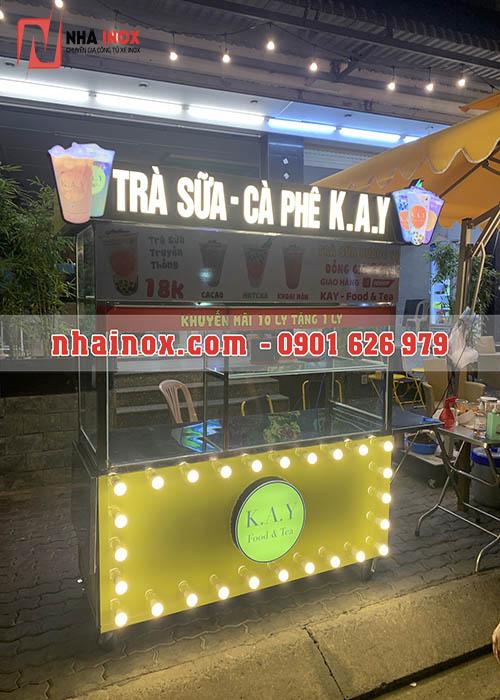 Tủ bán trà sữa trang trí chữ nổi viền đèn SP001