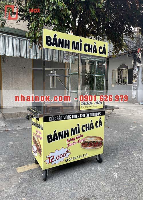 Xe bánh mì chả cá inox SP061