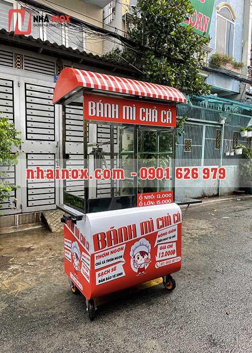 Xe bánh mì chả cá mái vòm thùng cong SP060