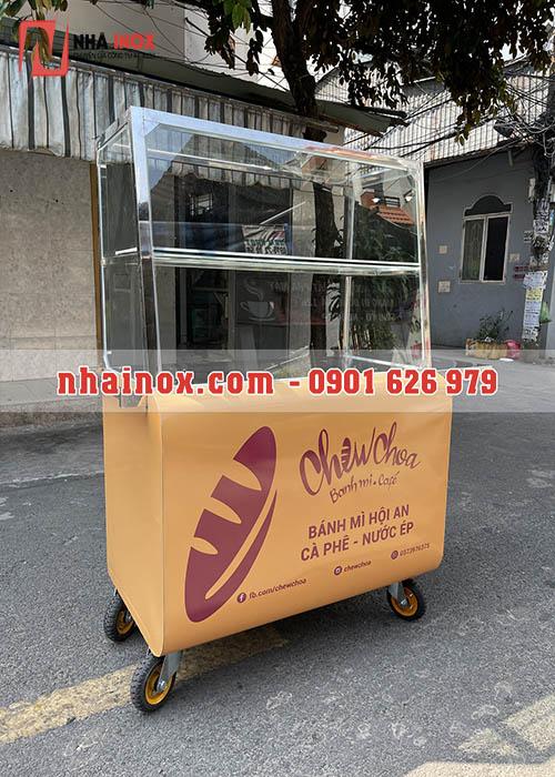 Xe bánh mì thùng cong inox SP040